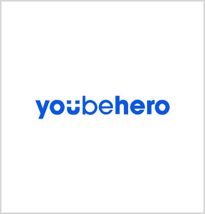 Το YouBeHero σε λευκό χρώμα παρασκηνίου